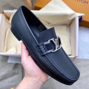 Giày lười Louis Vuitton Like Auth đế cao da lì mặt khóa trắng GLLV75