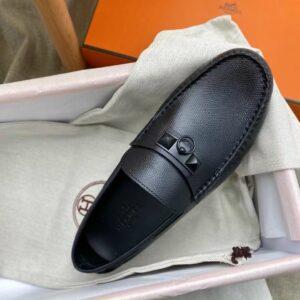 Giày lười Hermes like auth full đen da taiga GLH26