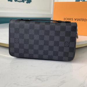 Ví nam Louis Vuitton like au cầm tay có quai hoạ tiết caro đen VNLV58