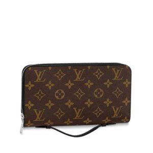 Ví nam Louis Vuitton like au cầm tay có quai hoạ tiết hoa nâu VNLV63