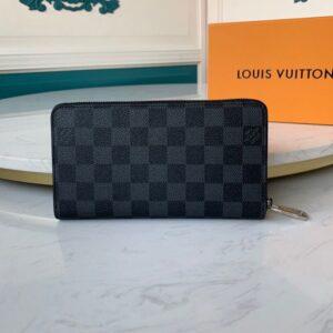 Ví nam Louis Vuitton siêu cấp cầm tay khoá kéo hoạ tiết caro đen VNLV50