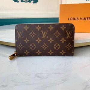 Ví nam Louis Vuitton like au cầm tay khoá kéo hoạ tiết hoa nâu VNLV55