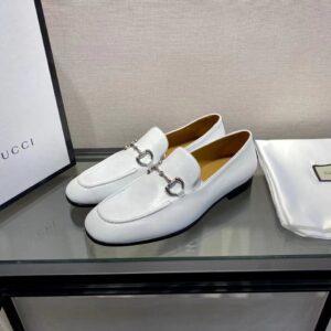 Giày lười Gucci like au đế cao da trơn màu trắng GLGC14
