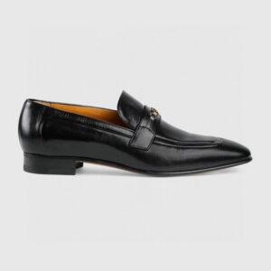 Giày lười Gucci like au đế cao họa tiết khóa logo nhỏ màu đen GLGC22