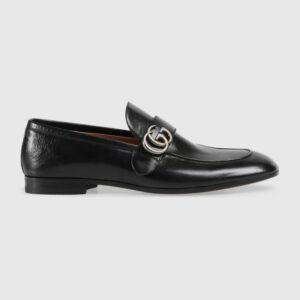Giày lười Gucci like au đế cao họa tiết logo lệch khóa trắng GLGC17