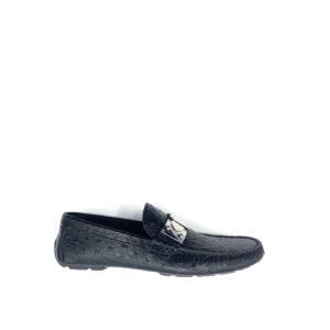 Giày Lười Louis Vuitton Like Auth khóa lệch da sần GLLV60
