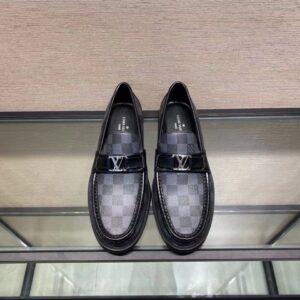 Giày lười Louis Vuitton like au đế cao hoạ tiết caro đen GLLV29