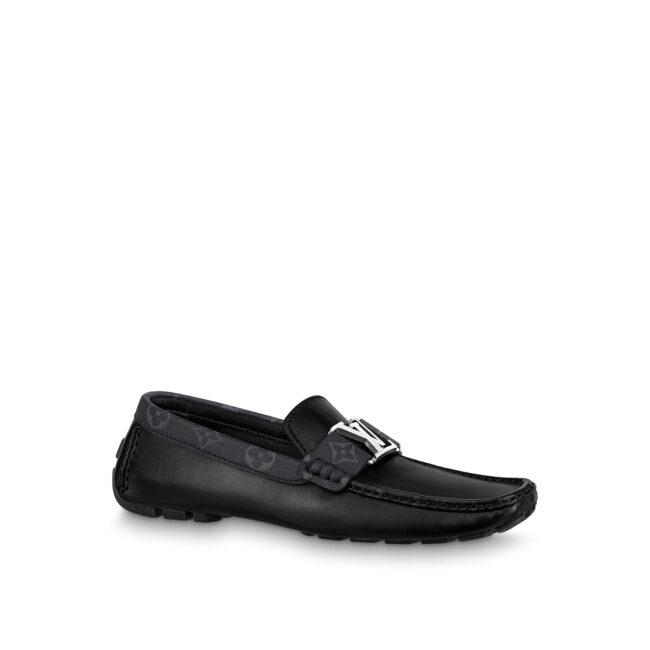 Giày lười nam Louis Vuitton like au họa tiết da trơn viền hoa GLLV09