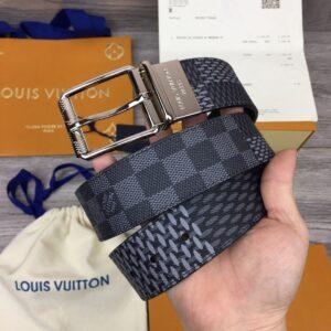 Thắt lưng Louis Vuitton like au hoạ tiết caro mới khoá kim màu trắng TLLV41