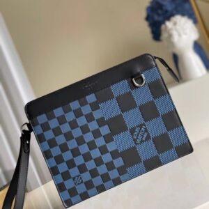 Ví nam Louis Vuitton like au cầm tay hoạ tiết caro xanh biển VNLV64