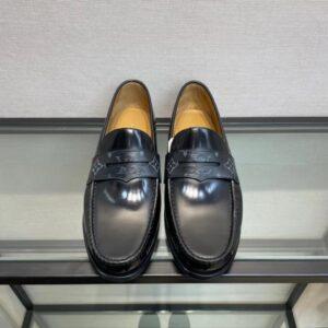 Giày lười Louis Vuitton like au đế cao tag ẩn viền hoa đen GLLV76